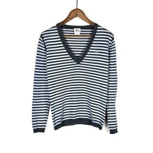Lacoste Women's Striped V-Neck Sweater Small
